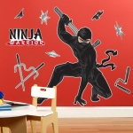 Birthday Express Ninja Warrior Party Giant Wall Decals Black/Red
