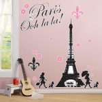 Birthday Express Paris Damask Giant Wall Decals Black/Pink