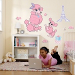 Pink Poodle in Paris Giant Wall Decals: Pink, Birthday