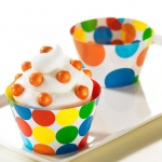 Primary Dots Reversible Cupcake Wrappers (12): Multi-colored, Birthday