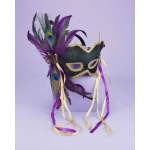 Mardi Gras Feather Couples Mask: Green, One Size, Mardi Gras, Female, Adult