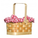 Gingham Basket: Tan, One Size, Everyday, Female, Adult