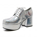 Silver Pimp Adult Shoes: Silver, Small, Everyday, Male, Adult