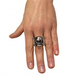 Rubie's Costumes Adjustable Skull Ring with Pewter Finish One-Size