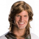 70s Guy Brown Wig: Brown, One Size, Everyday, Male, Adult