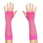 Forum Novelties 80's Neon Pink Long Fishnet Adult Gloves One Size