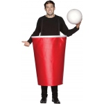 Beer Pong Cup Adult Costume: Red, One Size Fits Most Adults, Everyday, Unisex, Adult