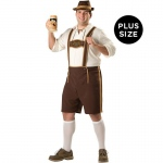 Bavarian Guy Adult Plus Costume: Brown, Plus, Everyday, Male, Adult