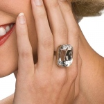 Faux Diamond Ring: White, One-Size, Everyday, Female, Adult
