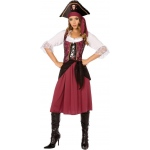 Burgundy Pirate Wench Adult Costume: Red, 10-12, Everyday, Female, Adult