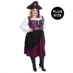 Burgundy Pirate Wench Adult Plus Costume: Burgundy, X-Large, Everyday, Female, Adult
