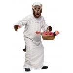 Big Bad Granny Wolf Adult Costume: White/Brown, One-Size, Everyday, Male, Adult