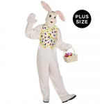Deluxe Easter Bunny Adult Plus Costume: White, Plus, Easter, Unisex, Adult