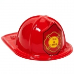 Child Size Red Plastic Fire Chief Hats (8): Red, Birthday