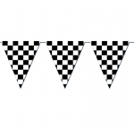 120' Checkered Outdoor Pennant Banner: Black & White, Birthday