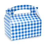 Blue Gingham Empty Favor Boxes (4): Blue, Birthday