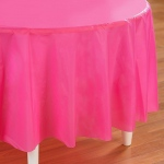 Creative Converting Candy Pink (Hot Pink) Round Plastic Tablecover