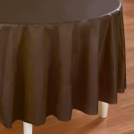 Creative Converting Chocolate Brown (Brown) Round Plastic Tablecover