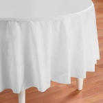 Creative Converting Bright White (White) Round Plastic Tablecover