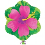 "Pink Hibiscus Flower Shaped 18"" Foil Balloon: Pink, Birthday"