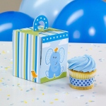 Blue Elephant Cupcake Boxes (4): Blue, Birthday