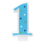 Deco Pac Blue #1 Candle with Polka Dots
