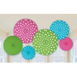 Amscan Dots Printed Paper Fan Decorations