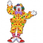 Jointed Circus Clown Cutout: Yellow, Birthday