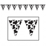 Cow Print Pennant Banner: Black & White, Birthday
