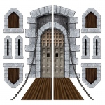 Castle Door and Window Props Add-Ons: Gray, Birthday