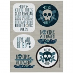 Birthday Express Boys Only Bash Sticker Sheets Blue/Grey