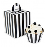 Black & White Striped Cupcake Boxes (4): Black/White, Birthday