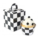 Black & White Checked Cupcake Boxes (4): Black/White, New Year's