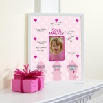 Birthday Express Sock Monkey Pink Framed Signature Matte Pink