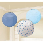 Amscan Blue Paper Lanterns Assorted (3) Blue