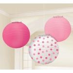 Amscan Pink Paper Lanterns Assorted Pink