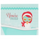 Birthday Express Little Spa Party Invitations Green/Pink