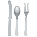 Amscan Silver Forks, Knives and Spoons (8 each) Silver