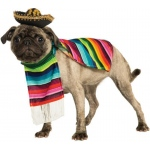 Mexican Poncho And Sombrero Pet Costume - Large