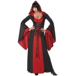 Deluxe Hooded Robe: Red/Black, Small, Everyday, Female, Adult