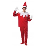 Elf On The Shelf Adult Costume: Red/White, One-Size, Everyday, Male, Adult