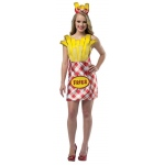 French Fries Dress Adult Costume: Red Yellow, One-Size, Everyday, Female, Adult