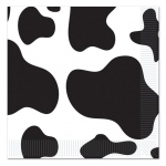 Cow Print Lunch Napkins (16): Black/White, Birthday