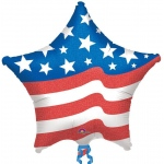 Patriotic Star Jumbo Foil Balloon: Multi-colored, Birthday