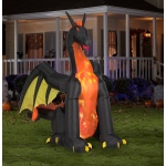 Projection Animated Giant Airblown Fire & Ice Dragon w/Wings (RRG): Black, Everyday, Unisex, Adult