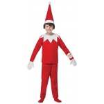 Elf on the Shelf Child Costume: Red and White, Medium, Everyday, Male, Child