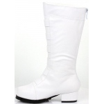 Boy's White Boot: White, Large, Everyday, Male, Child