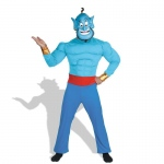 Aladdin Disney Genie Muscle  Adult Costume: Blue, Standard One-Size, Everyday, Male, Adult