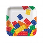 Creative Converting Building Block Party Square Dessert Plates