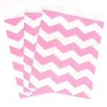 Creative Converting Candy Pink Chevron Paper Treat Bags (10) Pink/White